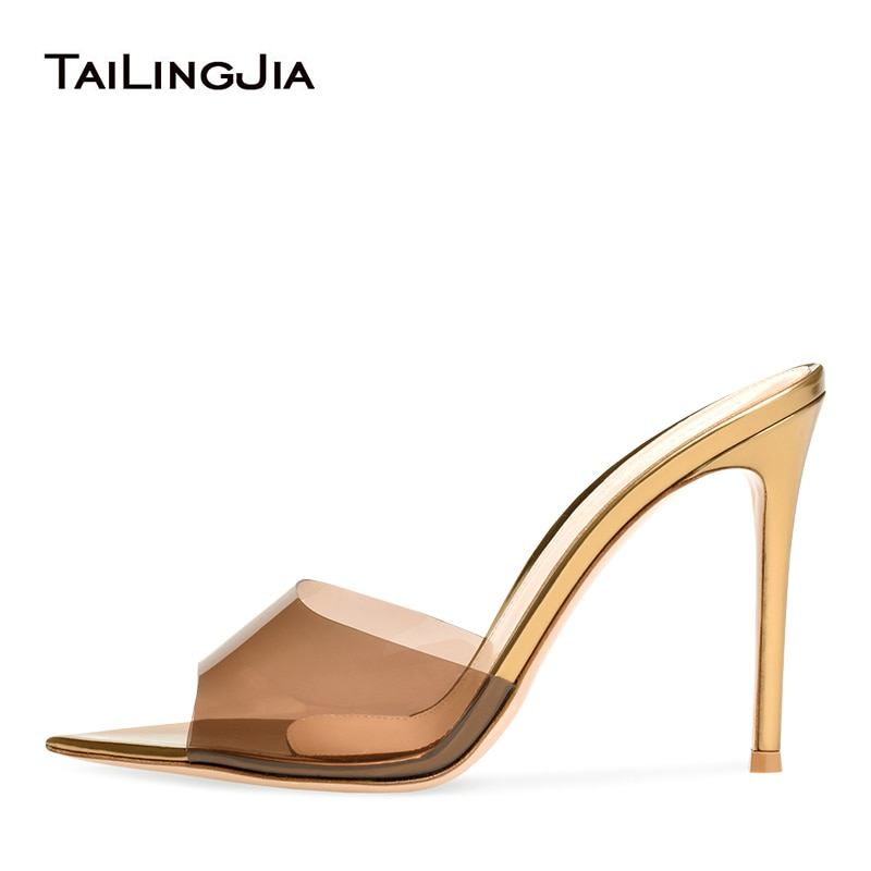 Woman High Heel Transparent Clear Sandals Open Pointed Toe Heeled Mules Stiletto Heels Ladies Sandals Women Summer Shoes 2019 meotina sandals women cross strap high heel shoes pointed toe stiletto heels dress ladies sandals summer black large size 43
