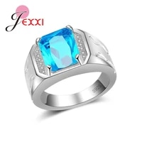 best quality new sale 925 sterling silver rings for menwomen blue dazzling cz finger rings for women engagement jewelrly