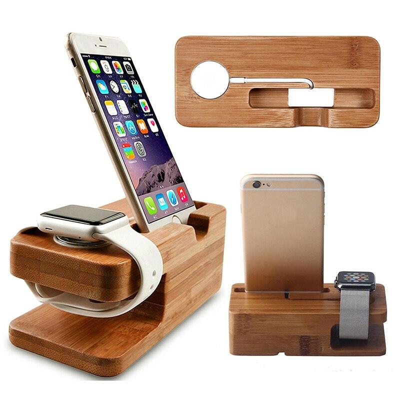 Caja de reloj de madera para apple watch soporte de teléfono para apple watch 4 base de mesa de carga de bambú para iwatch serie 42mm 38mm