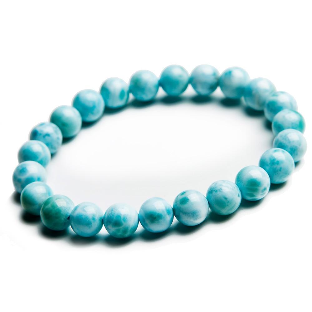 حقيقية الطبيعية لاريمار الأزرق الخرز سوار 8 مللي متر دومينيكا الأحجار الكريمة شفاء تمتد المياه نمط مجوهرات AAAAA