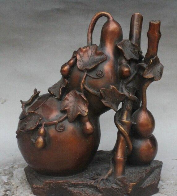 """Xd 002925 9 """"Palacio Chino de bambú de bronce Lagenaria Siceraria Calabash de hojas de hiedra estatua olla"""