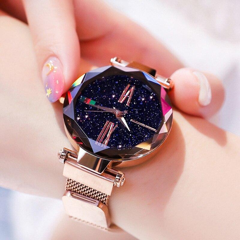 Relógios femininos de luxo 2019 senhoras rosa ouro relógio estrelado céu magnético relógio de pulso feminino relogio feminino zegarek damski