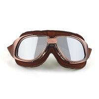 Vintage Motorcycle Goggle Dirt Bikes Racing Goggle Glasses Eyewear Pilot Retro Googles Brown Frame Helmet Sunglasses