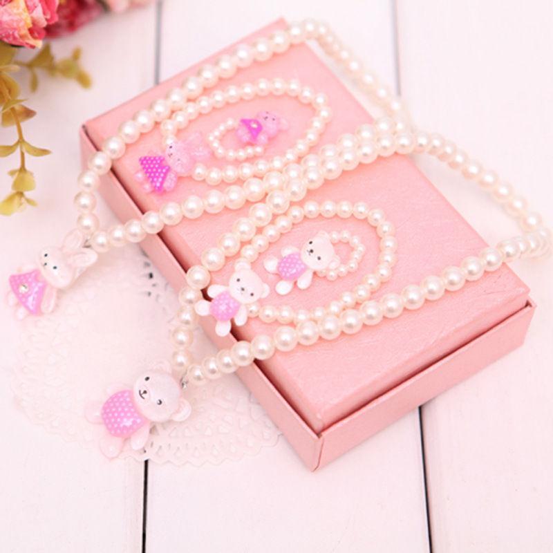 Pinksee crianças meninas princesa bebê imitação pérola contas pingentes colar pulseiras anel conjunto de jóias presentes festa