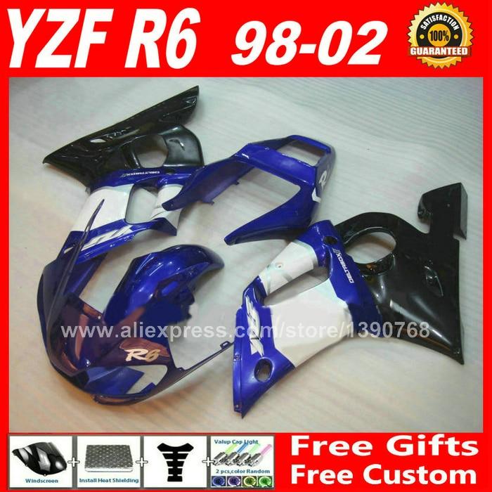 Barato carenado para YAMAHA YZF R6 98 99 00 01 02 de buena calidad de piezas de plástico YZF-R6 carenados kits 1998 de 1999 2000 DE 2001 kit de 2002