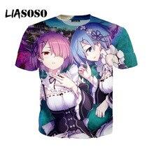LIASOSO New 3D Print Women Men Anime Rezero Rem Ram Cute GIrl Tshirt Summer T-shirt Hip Hop Pullover Harajuku Short SleeveX0796