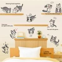 Autocollants muraux Chis Sweet Home  80x110 cm  en vinyle  decoration de chambre denfants  chats