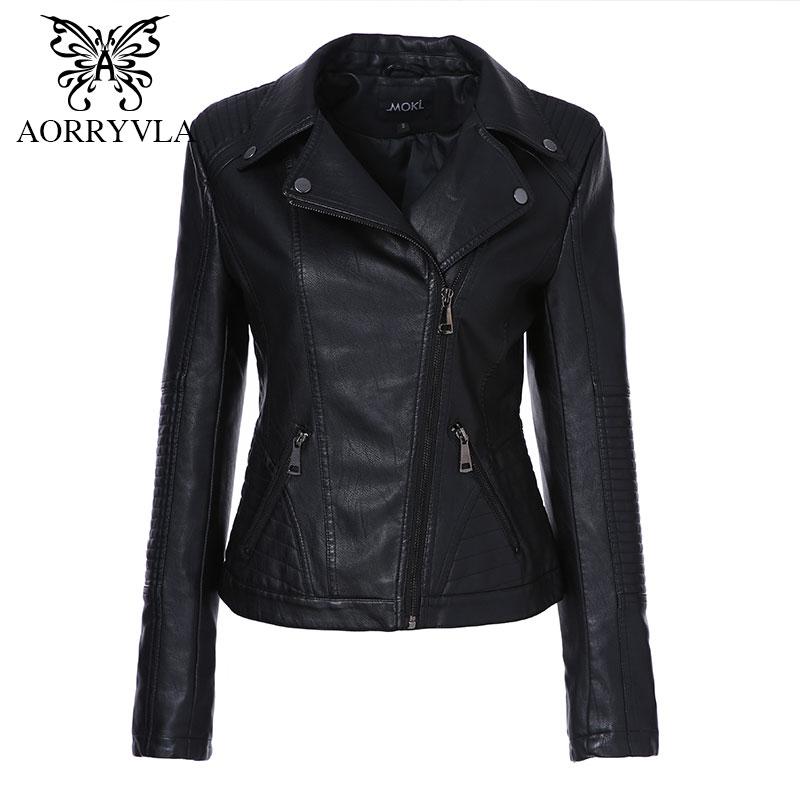 Chaqueta de cuero PU de marca para mujer primavera 2020, chaqueta de motociclista de moda negra con cuello vuelto, chaqueta de motociclista con cremallera, abrigos de cuero de PU, prendas de vestir delgadas