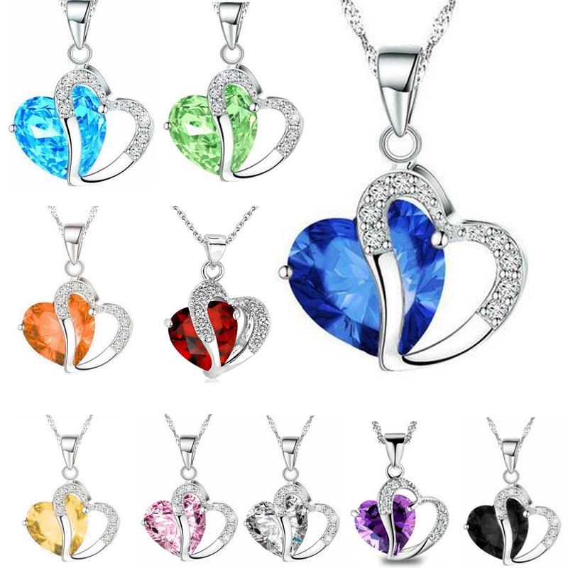 قلادة سلسلة كريستال على شكل قلب للنساء ، قلادة ، لون فضي ، 10 أنماط ، طول 17.7 بوصة ، LR013 ، بالجملة ، 50 قطعة