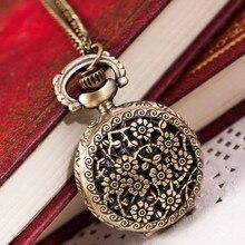 2019 Hot Fashion Woman Vintage Retro Bronze Quartz Pocket Watch Pendant Chain Necklace Drop Shopping Reloj de bolsillo Wd3se