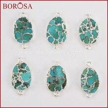 BOROSA 5 pièces Ovale Couleur Argent Cuivre 100% Bleu Pierre Druzy Connecteur Double Bails pour Bijoux Druzy Bijoux G1323