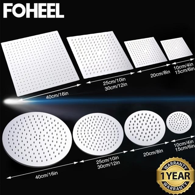 FOHEEL 16/12/10/8/6 inch Round & Square Showerhead Stainless Steel Polished Chrome Wall Mounted Bathroom Rainfall Shower Heads