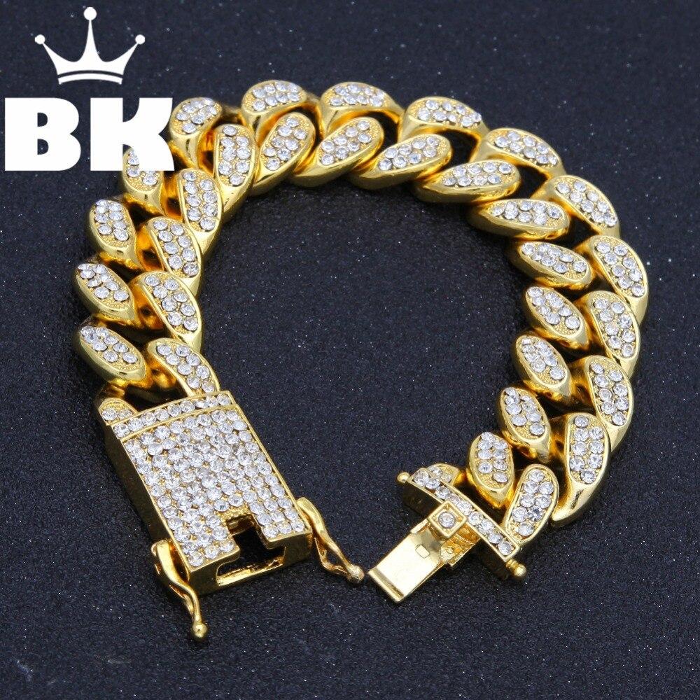 Hiphop homens simulado diamantes pulseira cubana links & correntes cor de ouro liga pulseira para pulseira masculino jóias acessório