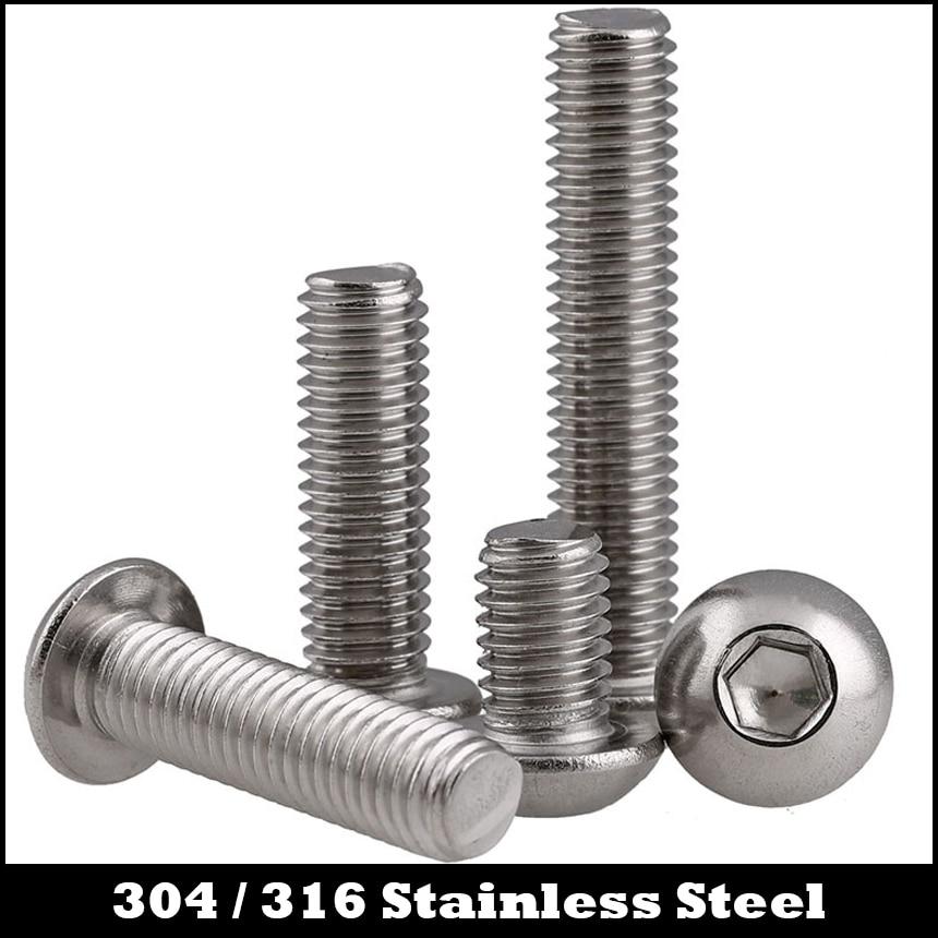 M3 M3 * 40 M3x40 M3 * 55 M3x55 M3 * 60 M3x60 304 de acero inoxidable 316 ss DIN7380 hongo redondo hexagonal zócalo tornillo de cabeza de botón
