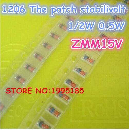 100 Pçs/lote ZMM15V LL-34 1/2 W 1206 SMD 0.5 W de SILÍCIO PLANAR Diodos Zener