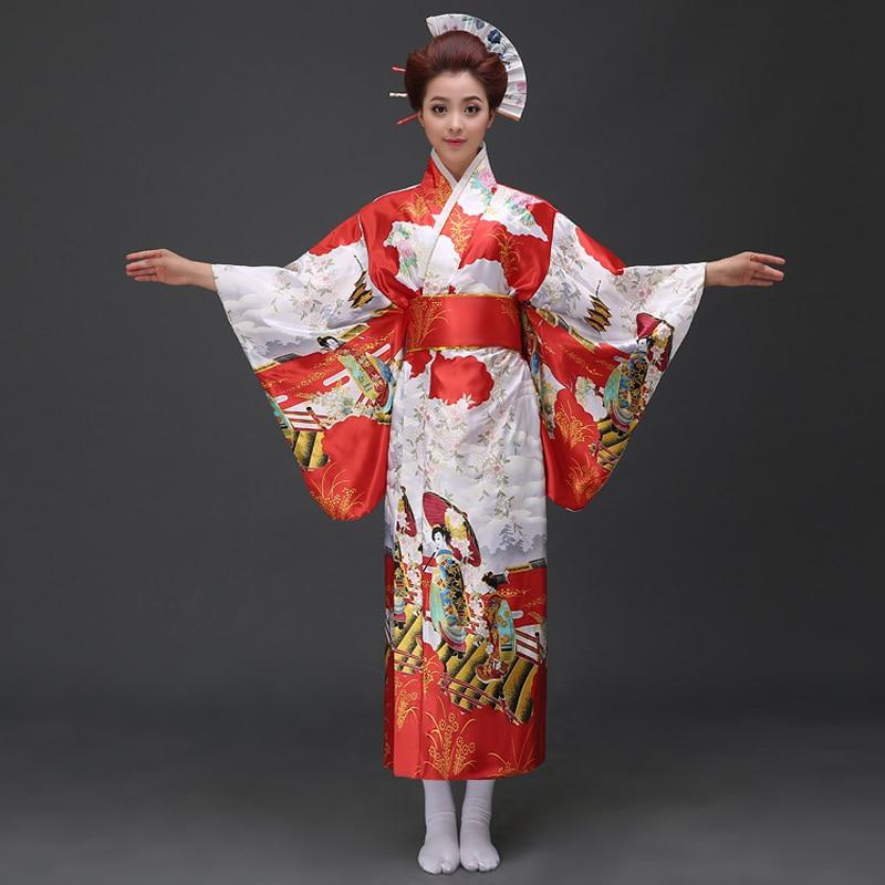Promoción rojo femenino Sexy Kimono de seda japonés Vintage Yukata con Obi novedad Floral vestido de noche talla única 021504
