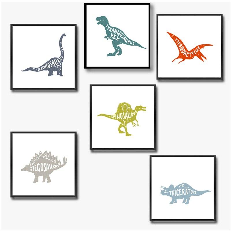 Arte da parede do quarto do menino da pintura da lona da decoração do dinossauro