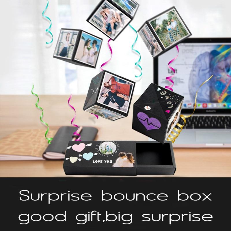 Caja de rebote de amor para fiesta sorpresa, regalo, explosión para aniversario, álbum de recortes, álbum de fotos DIY, regalo de cumpleaños, 20,3x9x4cm