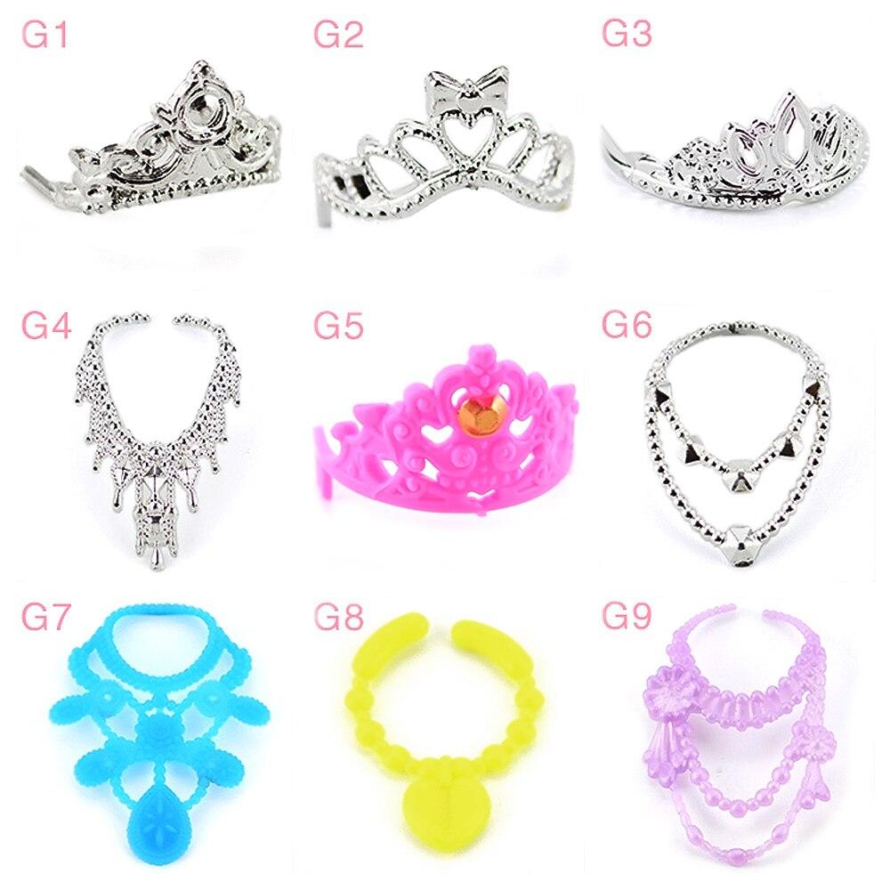 Besegad, 10 Uds., Mini muñecas para niñas, tocados de corona, tocado, muñeca, joyería, collar, accesorios para Barbie de juguete