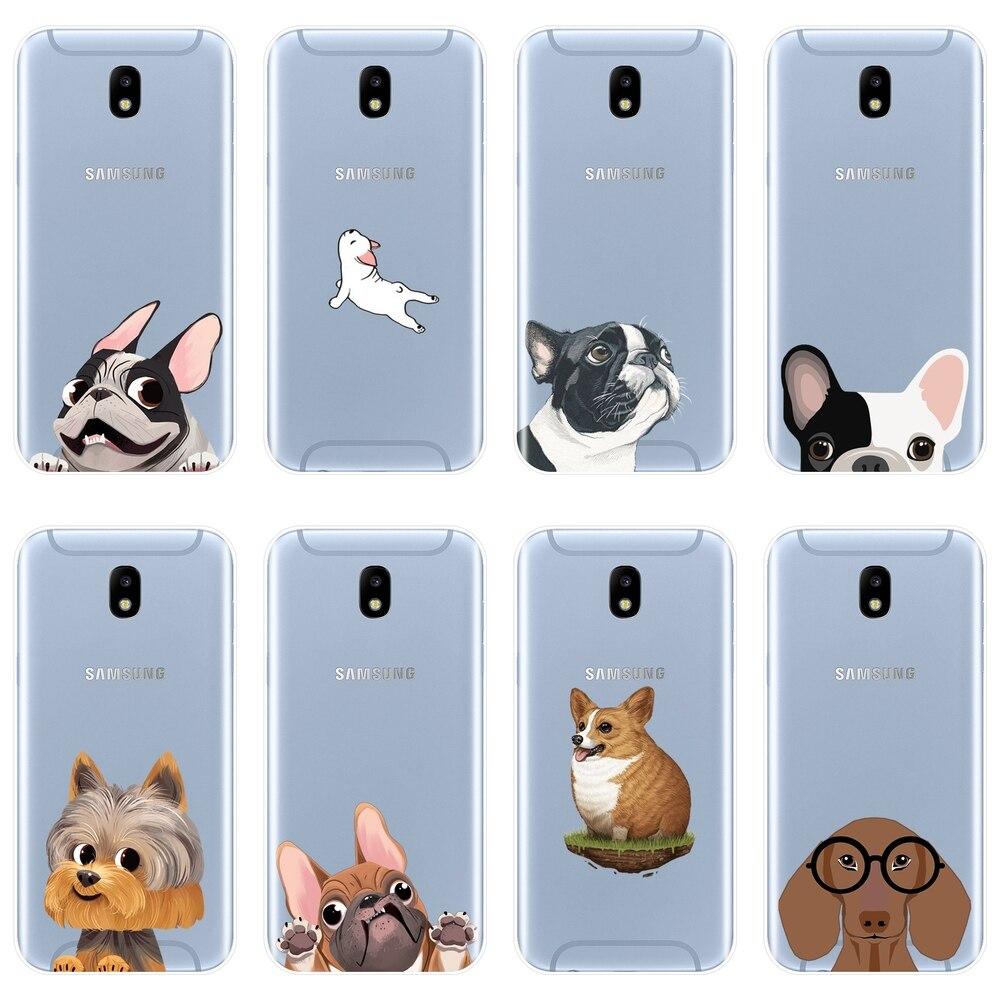 De silicona suave teléfono funda para Samsung Galaxy J4 J6 J8 más perro de la contraportada para Samsung J3 J5 J7 2015, 2016 de 2017 J2 J5 J7 primer