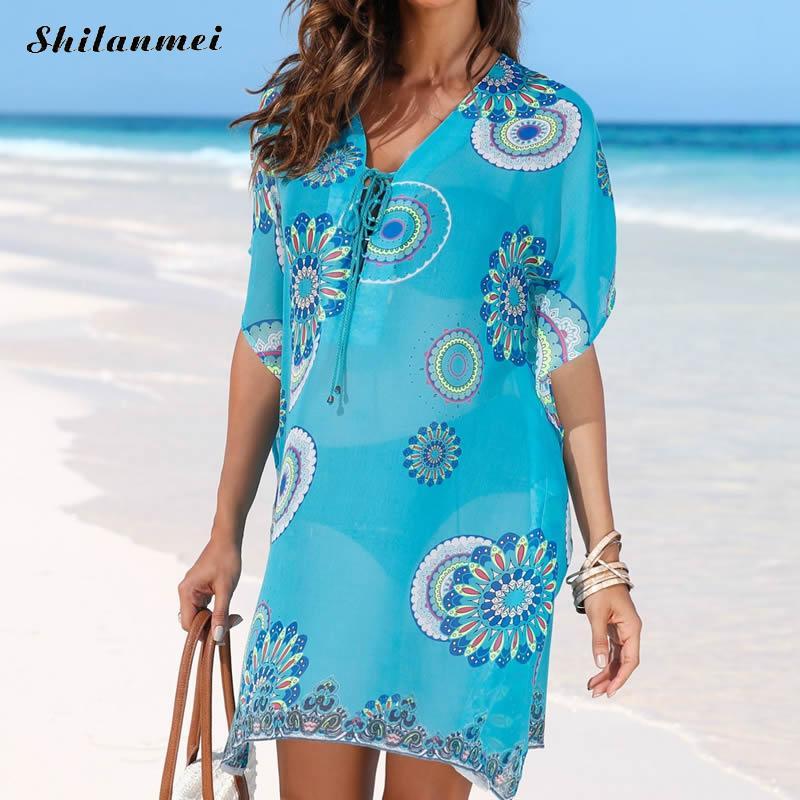 Кружевное пляжное платье с v-образным вырезом, открытое пляжное платье с принтом, летние платья для женщин, шифоновая Женская туника, Синяя пляжная одежда с принтом
