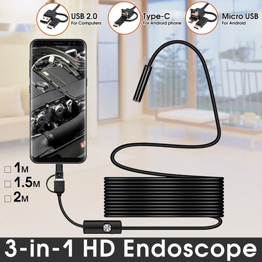 AliExpress - Boroscope Camera 2m 1m Flexible Snake Endoscope Camera  Boroscope 5.5mm 7mm Lens MircroUSB TYPE C for Smartphone Android PC MAC