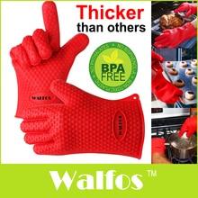 WALFOS gant de cuisine de barbecue   Résistant à la chaleur, gant de cuisson épais de barbecue, gant de cuisson en silicone pour four de barbecue