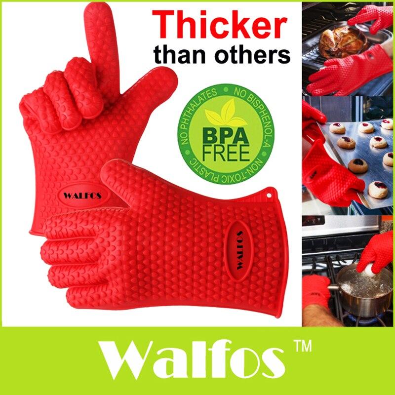 WALFOS 1pc resistente al calor guante de cocina grueso guante para barbacoa de parrilla de barbacoa horno Mitt guante Pot titular cocina guante