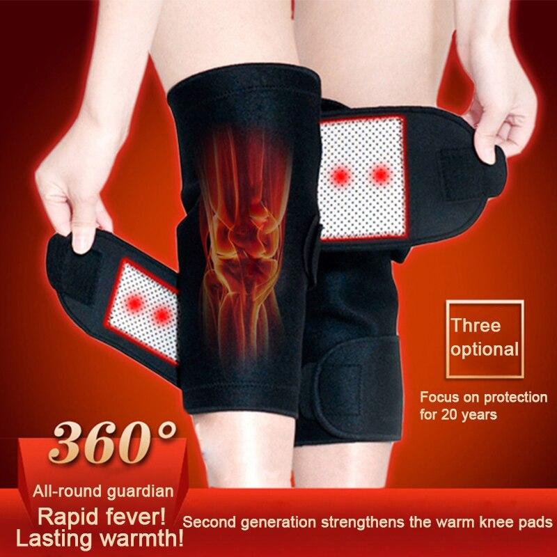 1 par de auto Calentamiento de rodilla cinturón de turmalina magnética terapia rodillera soporte protector alivio del dolor cuidado de la salud masajeador de rodilla
