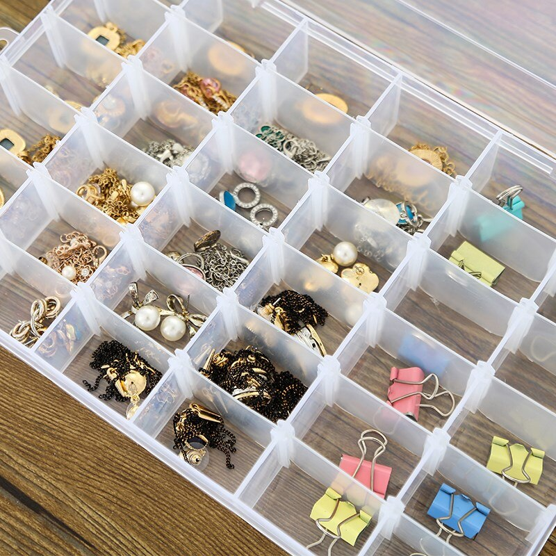 Caja de joyería de plástico transparente para pendiente de anillo ajustable caja de almacenamiento rectangular de 24 compartimentos organizador de oficina en casa