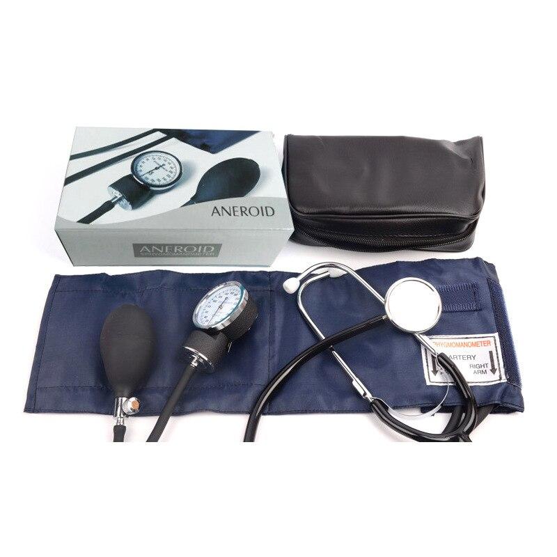 Manual de pressão arterial médica monitor cinta estetoscópio tipo braço dispositivo pressão arterial aneróide esfigmomanômetro + saco armazenamento