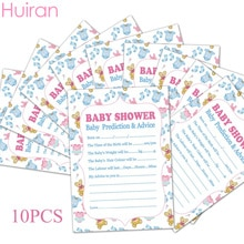 Huiran 10pcs Cards Baby Prediction Advice Souvenir Game Baby Shower Decor Christening Boy Girl Decor Birthday Party Supplies
