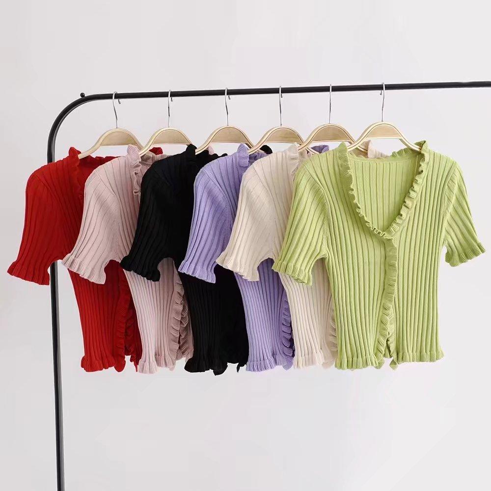 2019 Autumn Knit Sweater Female Women Ruffle Trim Crop Knit Cardigan With Short Sleeve Deep V Neck Crop Casual Jumper Pull Femme wave pattern open knit jumper
