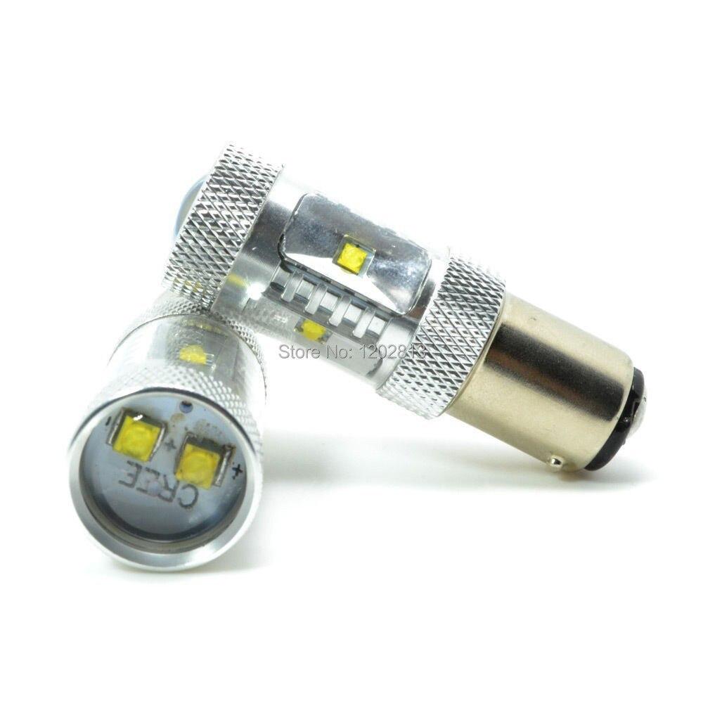Envío gratis 2 uds LED P21/4W 566 BAZ15D 7225 Canbus Blanco/rojo Autobirnen señal indicador de freno bombilla de doble filamento 12 24V