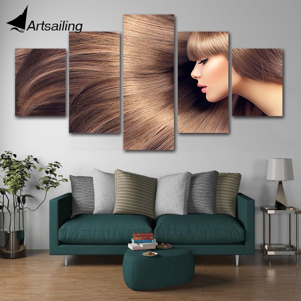 Affiches de peinture en toile à 5 panneaux   Affiches de coiffure, maquillage de cheveux, toile de ongles, art mural, salon de coiffure, affiche de barbier