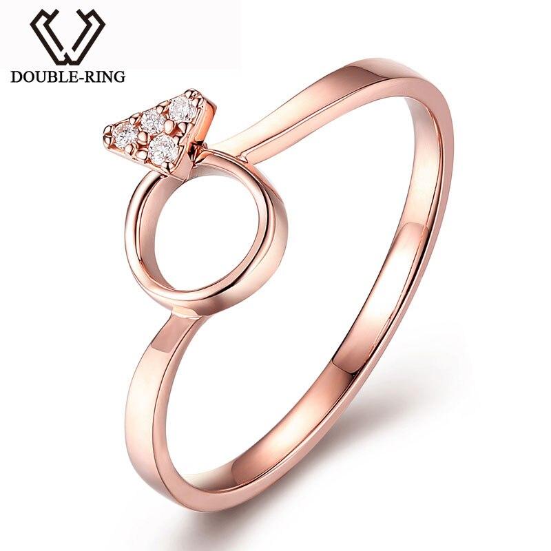 MZH Joyas de Anillos de Boda de Oro de 18K y Diamantes Romántica Joyerias Finas Anillos de Naturales Diamantes y Oro Rosado para Mujeres de Boda CASR02415KA-3
