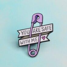 Boutons de manchette amour ruban broche violet trombone coeur vous êtes en sécurité avec moi émail Pin Badge amis enfant famille cadeau