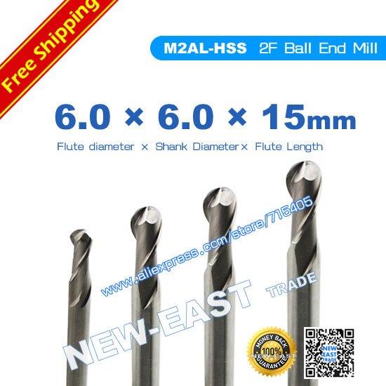 Para dia 6mm M2AL-HSS R3 2 flautas Ball Cutter nariz final molino 6*6*6*6*15*90mm cnc corte enrutador herramientas molino brocas
