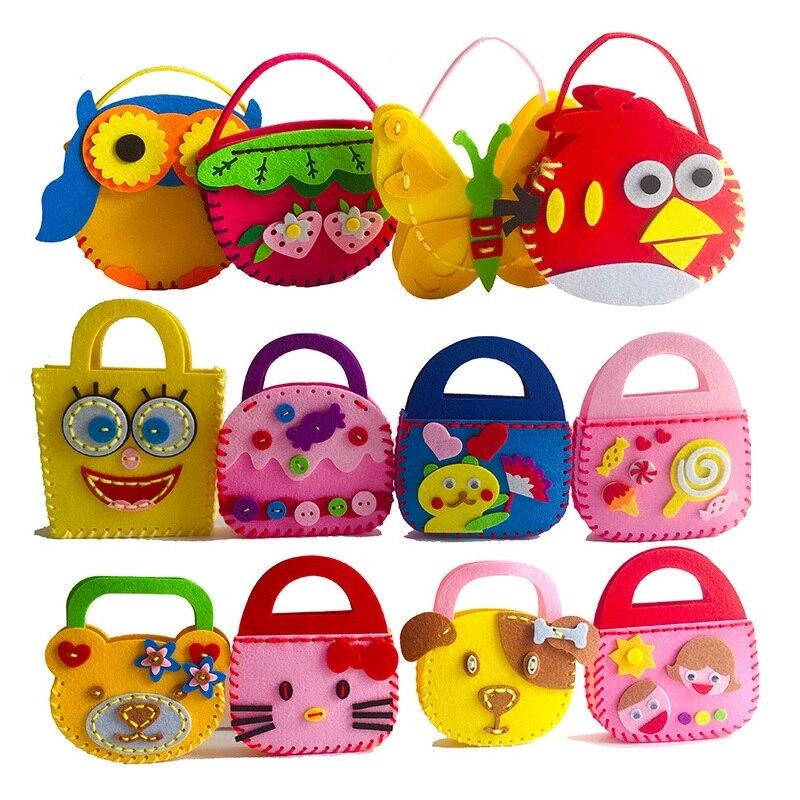 Bricolaje apliques de tela, bolsa de niños hecho a mano juguetes de Montessori tela no tejida de dibujos animados flor bolso Animal preescolar madre arte regalo
