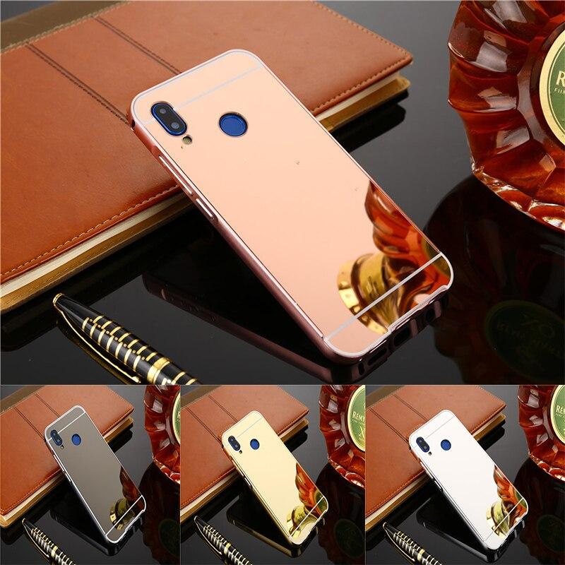 Fundas de espejo dorado rosa de lujo a la moda para Huawei P20 Lite Marco de metal de aluminio carcasa trasera protectora para Huawei P20Lite