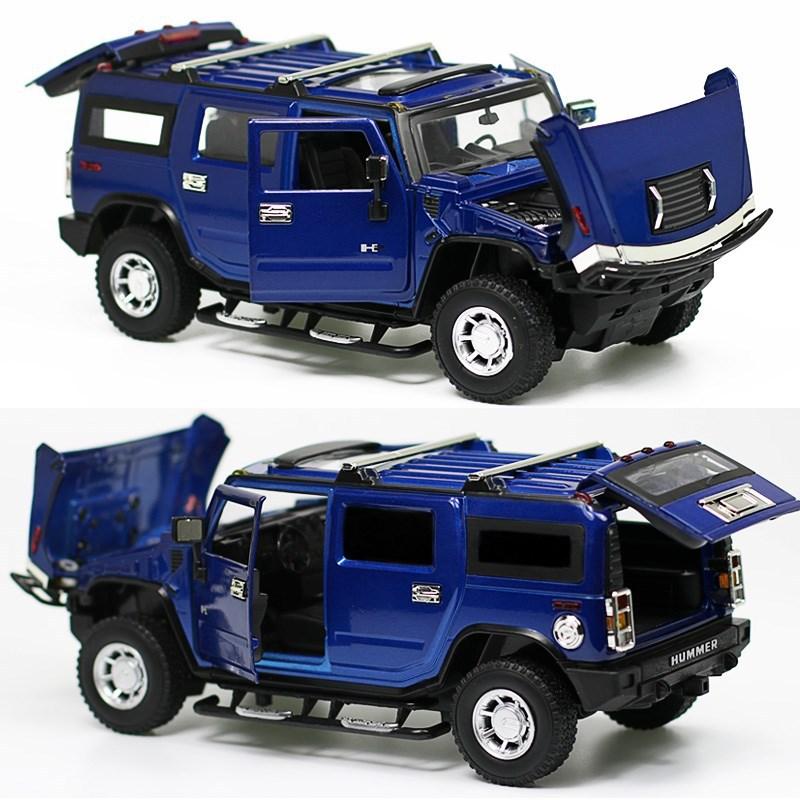 Realista Die-cast Modelo de Carro escala 124 carros de metal brinquedos do carro para as crianças/kids1 H2 24 Para Hummer SUV brinquedo colecionável