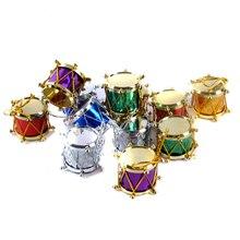 Mini boîte-cadeau tambour avec nœud papillon   1lot/12 pièces, pendentif pour arbre de noël, décor de la maison, ornements à offrir suspendus au nouvel an, décoration de noël 62378