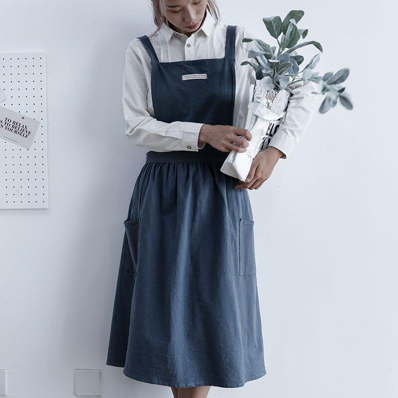 Nórdicos plissado avental café maduro fã artística cozinha moda avental de algodão feminino artistas Japoneses