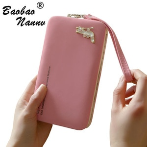 Wristband Women Long Clutch Wallet New Cute Large Capacity Wallets High-heeled shoes Female Lady Purses Phone Pocket Card Holder
