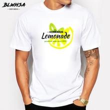 BLWHSA Homemade Lemonade Print T-shirt Men's Casual Cotton Short Sleeve Tshirts Summer Fashion Man T