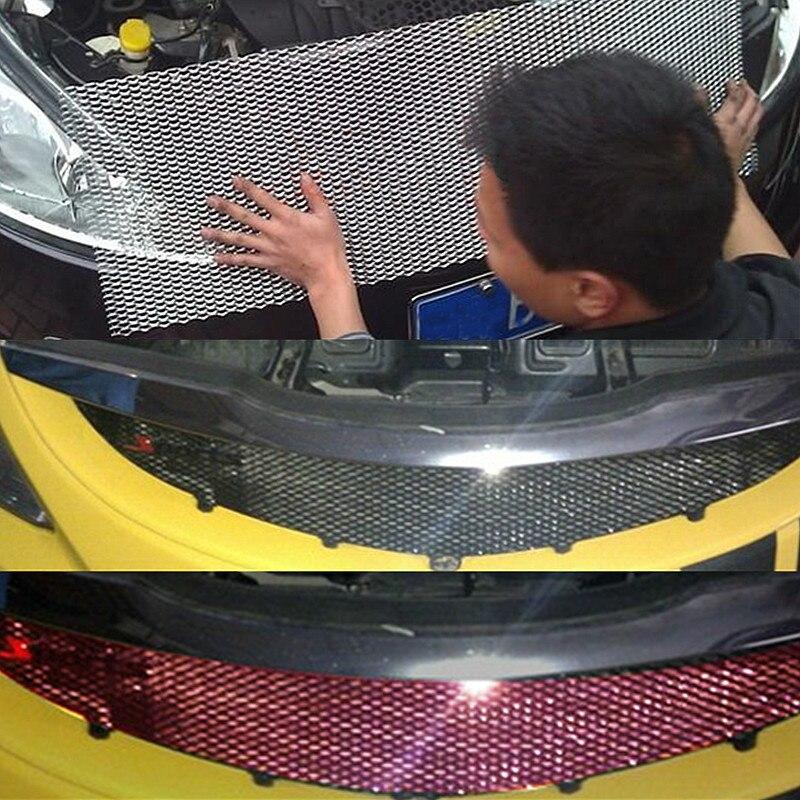 Autoleader Universal 100x33cm Car Racing Grille Net Aluminum Car Vehicle Black Body Grille Net Mesh Black /Silver Send at random