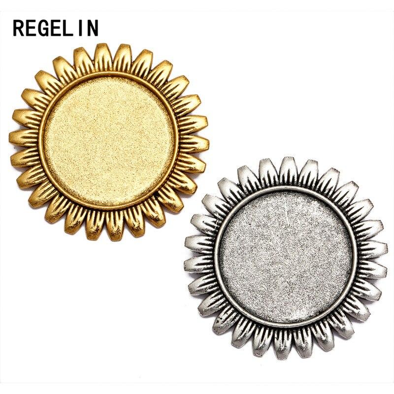 REGELIN, новинка, 5 шт./лот, Подсолнух, античное золото/античное серебро, брошь, основа, подходит для внутренней части, 25 мм, кабошон, поднос, сдела...