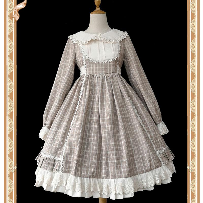 Doris Reise ~ Süße Langarm Plaid Lolita Kleid durch Infanta