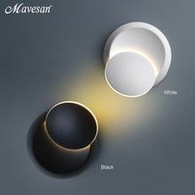 Lampe de chevet réglable en rotation, à 360 degrés lumière de chevet blanche et noire lampe murale créative noire lampe ronde moderne avec allée