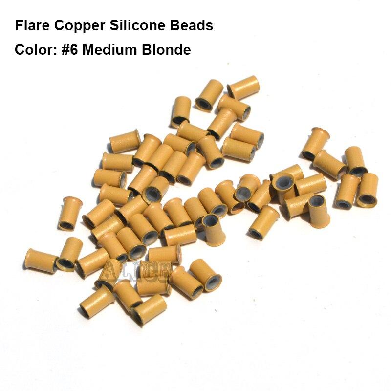 Micro enlaces de cobre de silicona Flare 4,0*3,0*6,0 MM cuentas de rastas doradas de silicona Micro anillos de Metal para el cabello